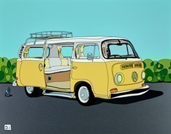 Yellow Camper Van by Dylan Izaak -  sized 28x22 inches. Available from Whitewall Galleries